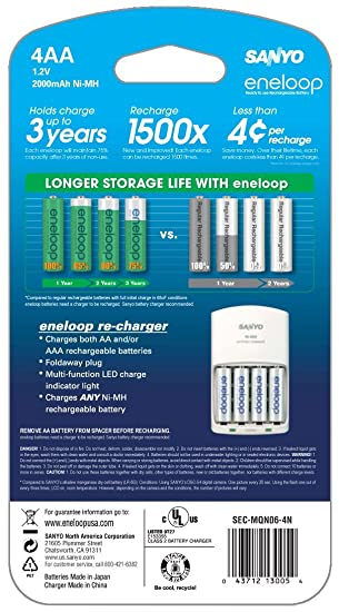 eneloop AA with 4 Position Charger, 1800 cycle, Ni-MH Pre-Charged Rechargeable Batteries, 4 Pack (discontinued by manufacturer)