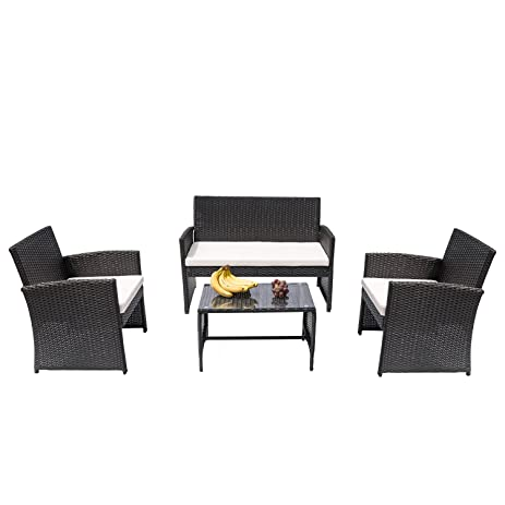 hans 4 pc rattan patio furniture set garden lawn sofa cushioned seat wicker sofa black