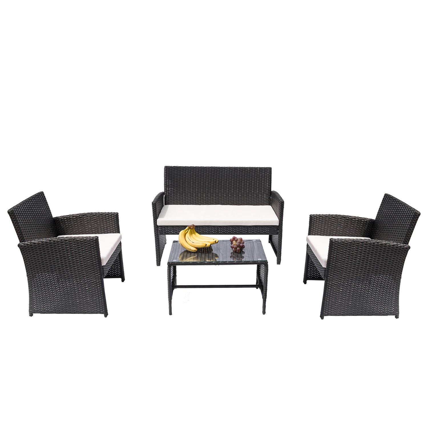 HANs 4 PC Rattan Patio Furniture Set Garden Lawn Sofa Cushioned Seat Wicker Sofa (Black)