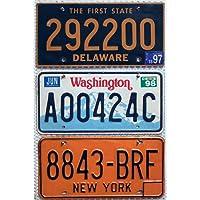 3er SET / LOT # US Nummernschilder NEW YORK + DELAWARE + WASHINGTON Blechschilder # USA Auto - Schilder