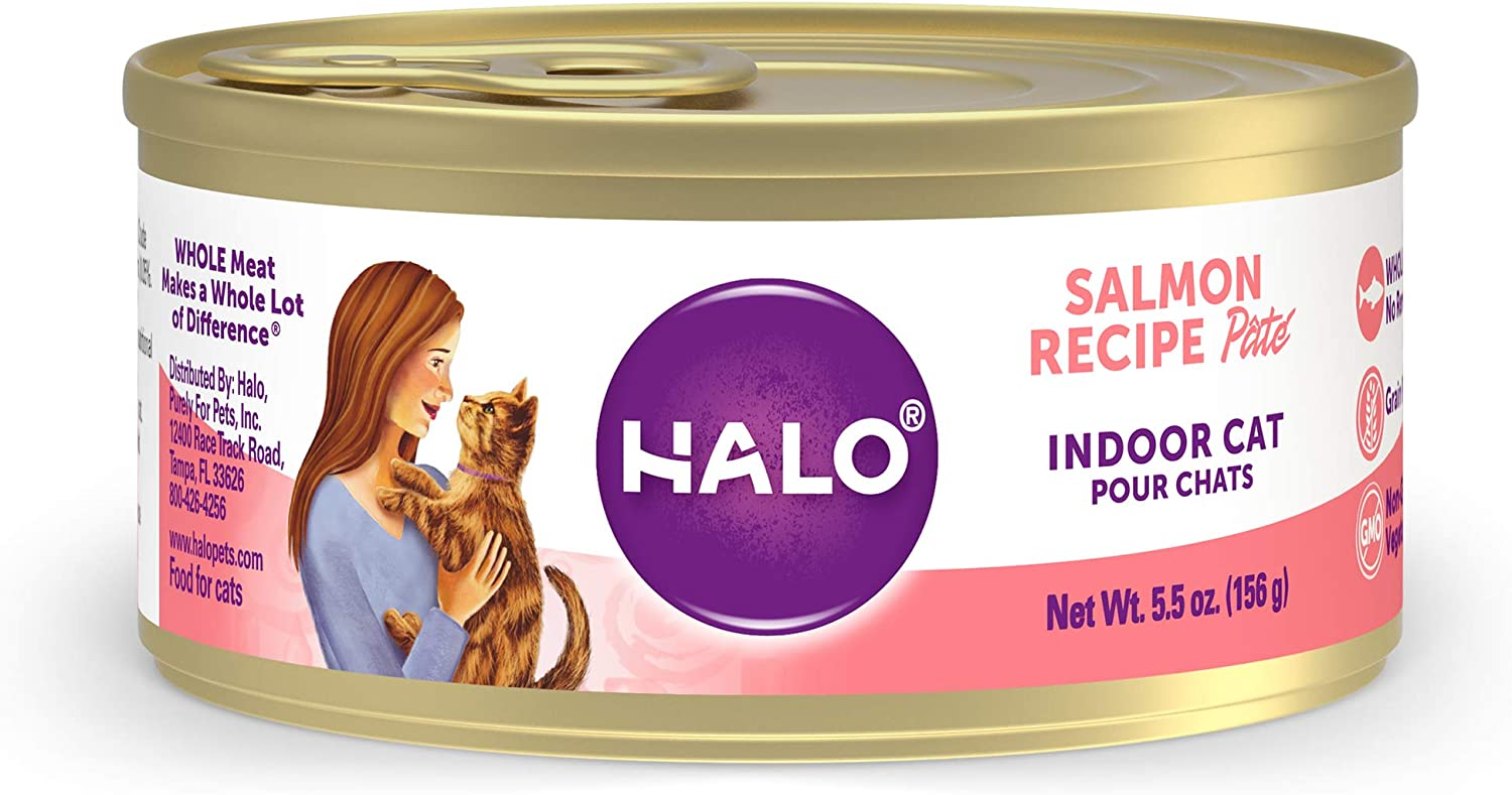 Halo Grain Free Natural Wet Cat Food, Indoor Recipe Pate, 5.5-Ounce Can (Pack of 12)