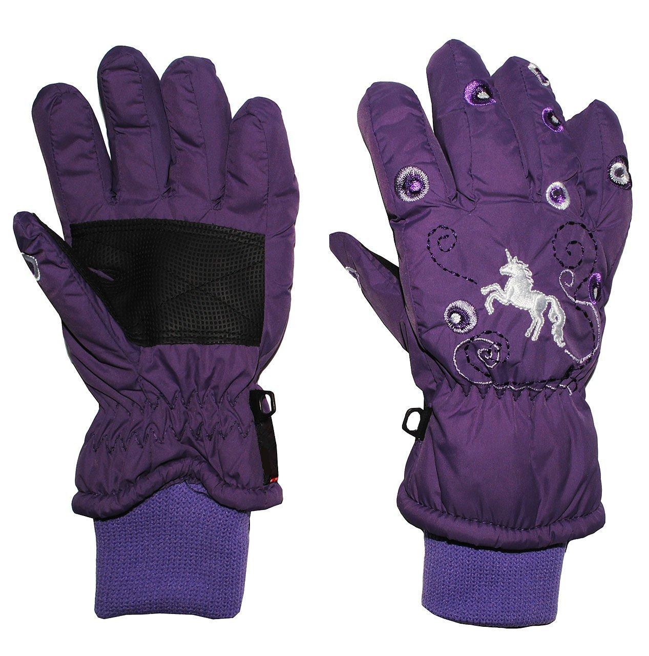 Fingerhandschuhe mit Schaft / Strick Bündchen - Einhorn lila / violett - Thermo gefüttert Thermohandschuh - Größe: 7 bis 8 Jahre - wasserdicht + atmungsaktiv Thinsulate - Fingerhandschuh für Kinder - Mädchen - Thermohandschuhe Handschuhe - Baumwolle Futter