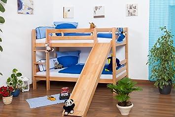 Etagenbett Teilbar Mit Rutschen : Kinderbett etagenbett jonas buche vollholz natur massiv mit