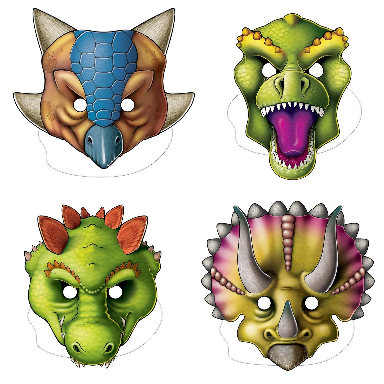 Amazon.com: Beistle Dinosaur Masks | Jurassic Park, Dinosaur ...