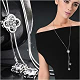 Zealmer Shoopic Sparkle Rhinestone Snowflake Pearl Pendant Necklace Long Sweater Necklace for Women Girls