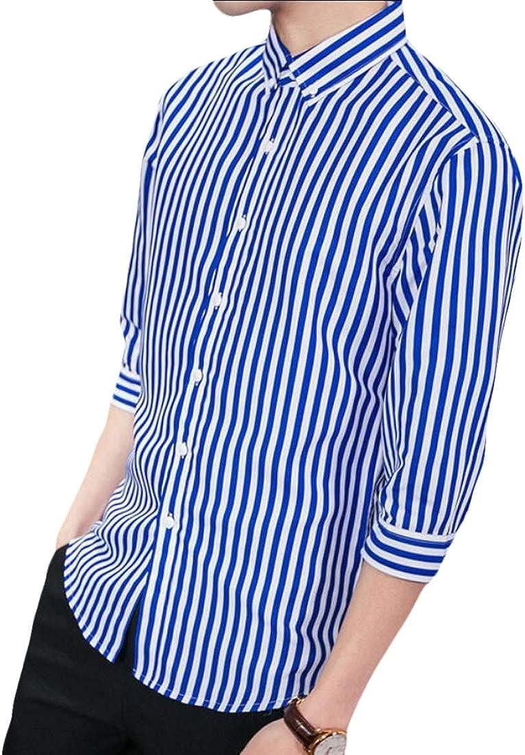 Keaac Men Casual Long Sleeve Vertical Striped Button Down Dress Shirt