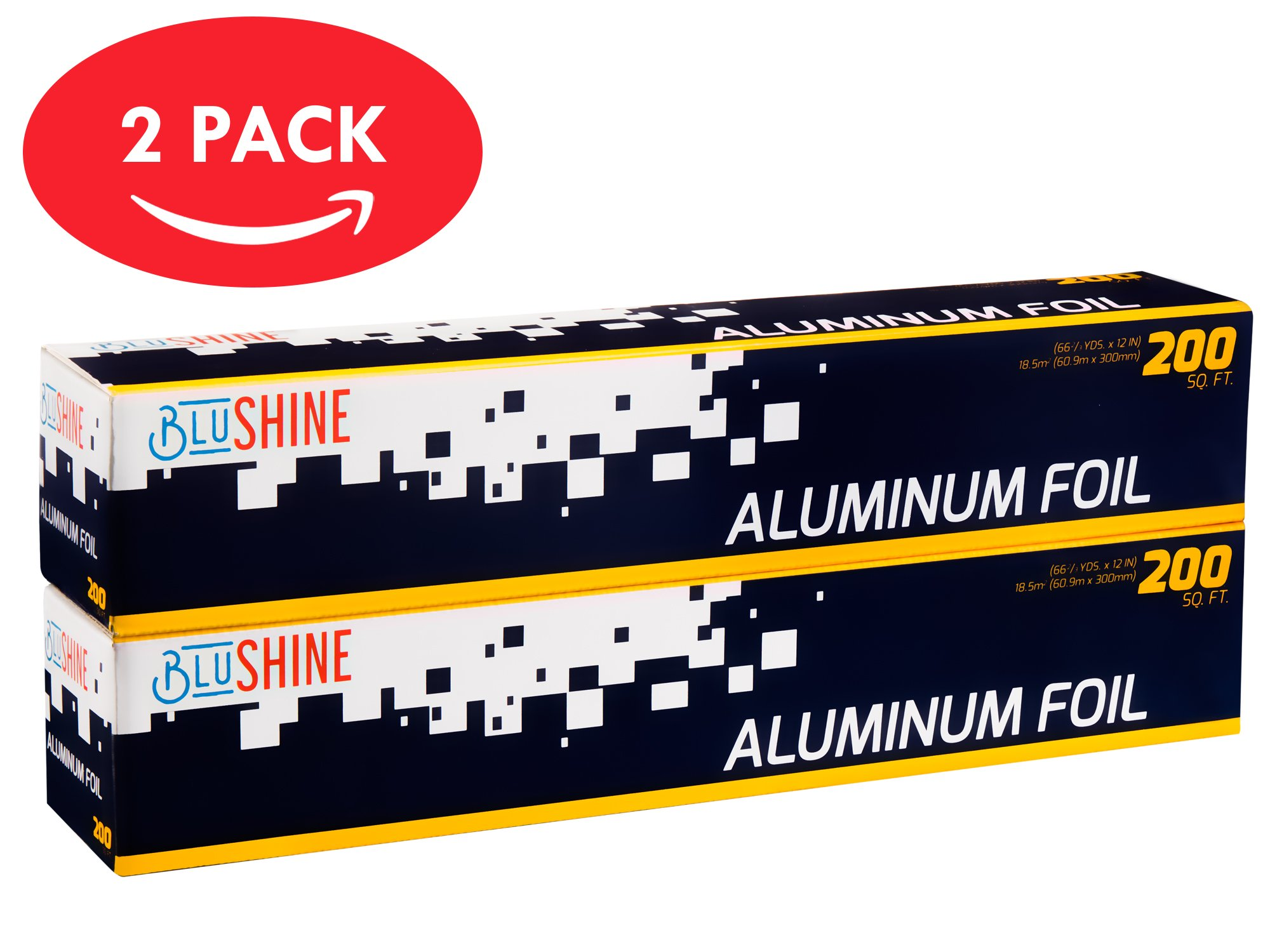 Aluminum Foil - 2-Pack of 200 Square Foot Roll - 12 Inch Silver Paper Wrap - Chemical & Toxin-Free Food Wrapping Paper - Safe for Grill - (400 Sq. Feet)