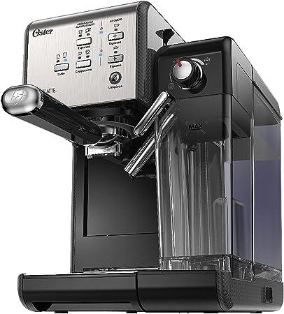 Cafetera automática PrimaLatte Oster con 19 bares, en acero inoxidable con paneles de fibra…