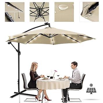 Superior Koval Inc. 10 FT. Cantilever Offset Patio Umbrella Crank Lift With LED  Lights U0026