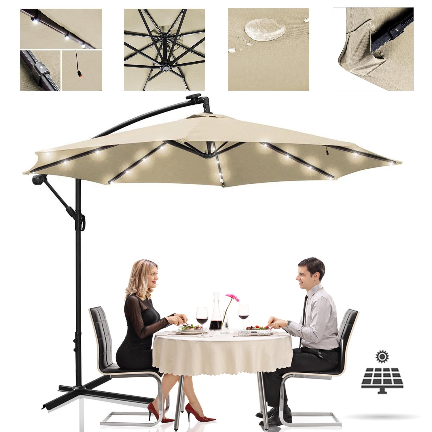 Koval Inc. 10 FT. Cantilever Offset Patio Umbrella Crank Lift with LED Lights & Stand (10 FT, Tan)