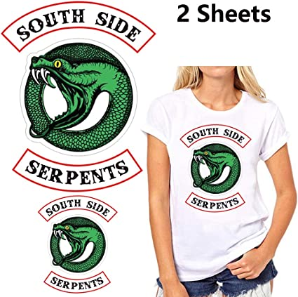 3 Piece Set Riverdale Large Southside Serpents Jacket Hoodie Shirt Patches Iron on or Sew on Embroidered Patches for Women Men