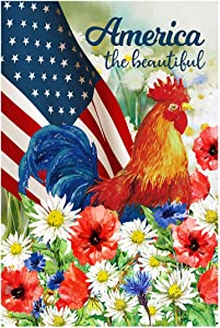 Morigins America July 4 Patriotic Garden Flag Decorative Pansies Farm Rooster Double Sided Flag 12.5x18 inch