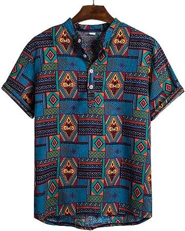 Skang Camisa Hawaiana para Hombre,Verano Original Vintage Camiseta Henley con Botones BlusaTops Pullover para Señores