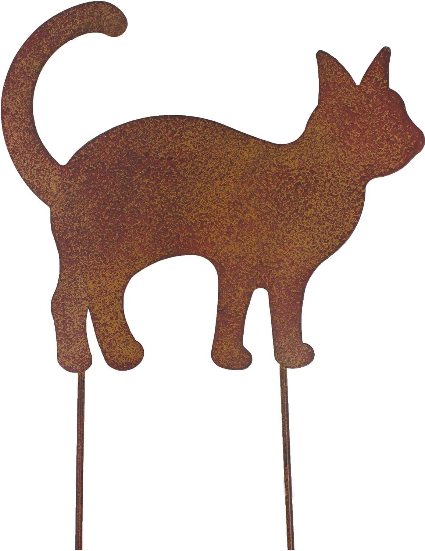 Metall Stecker Katze Rost Stecken Fr/ühlingsdeko Gras Rasenstecker Gartenstecker Rost-finish Blumenstecker Gartendekoration Cat Edelrostdeko Fr/ühling Sommer Beetstecker Tierfigur braun H31cm B22cm