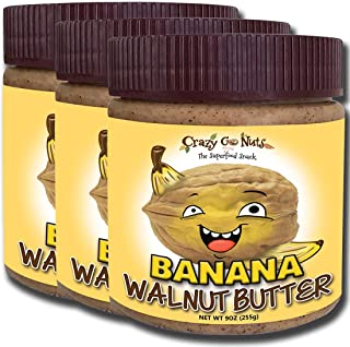 product image for Crazy Go Nuts Walnut Butter - Banana, 9 oz (3-Pack) - Healthy Snacks, Keto, Vegan, Low Carb, Gluten Free, Superfood - Natural, Non-GMO, ALA, Omega 3 Fatty Acids, Good Fats and Antioxidants