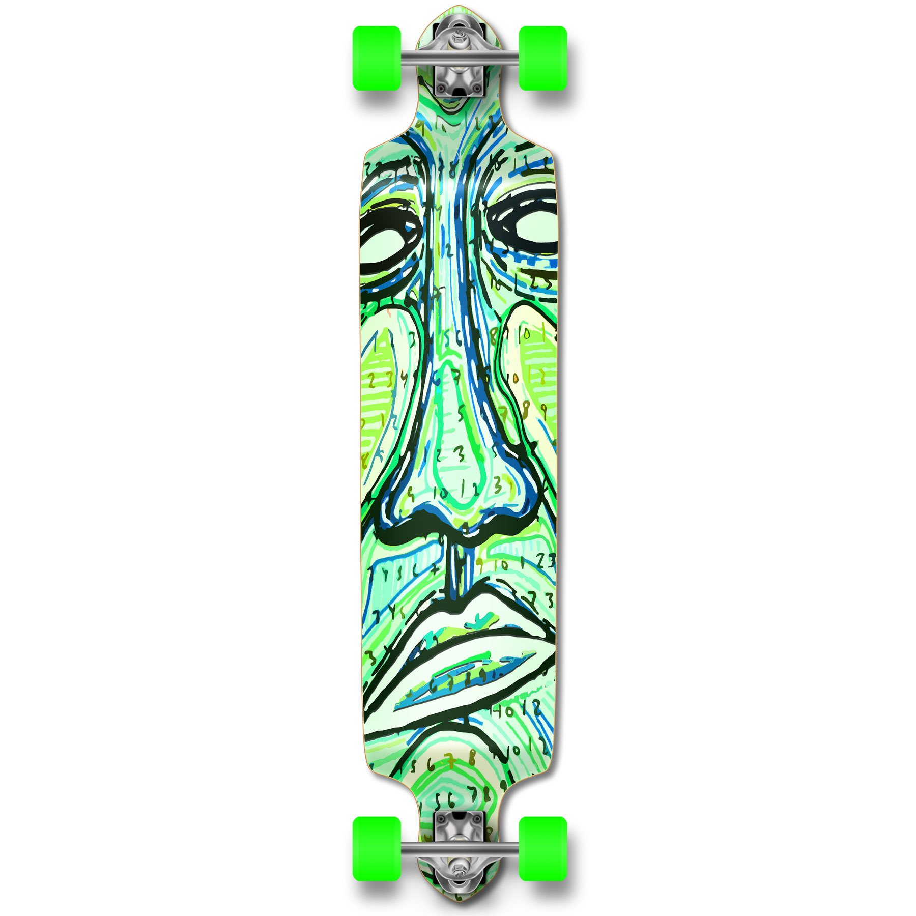 Yocaher Drop down Pro longboard complete Cruiser downhill freestyle freeride skateboard (Countdown)