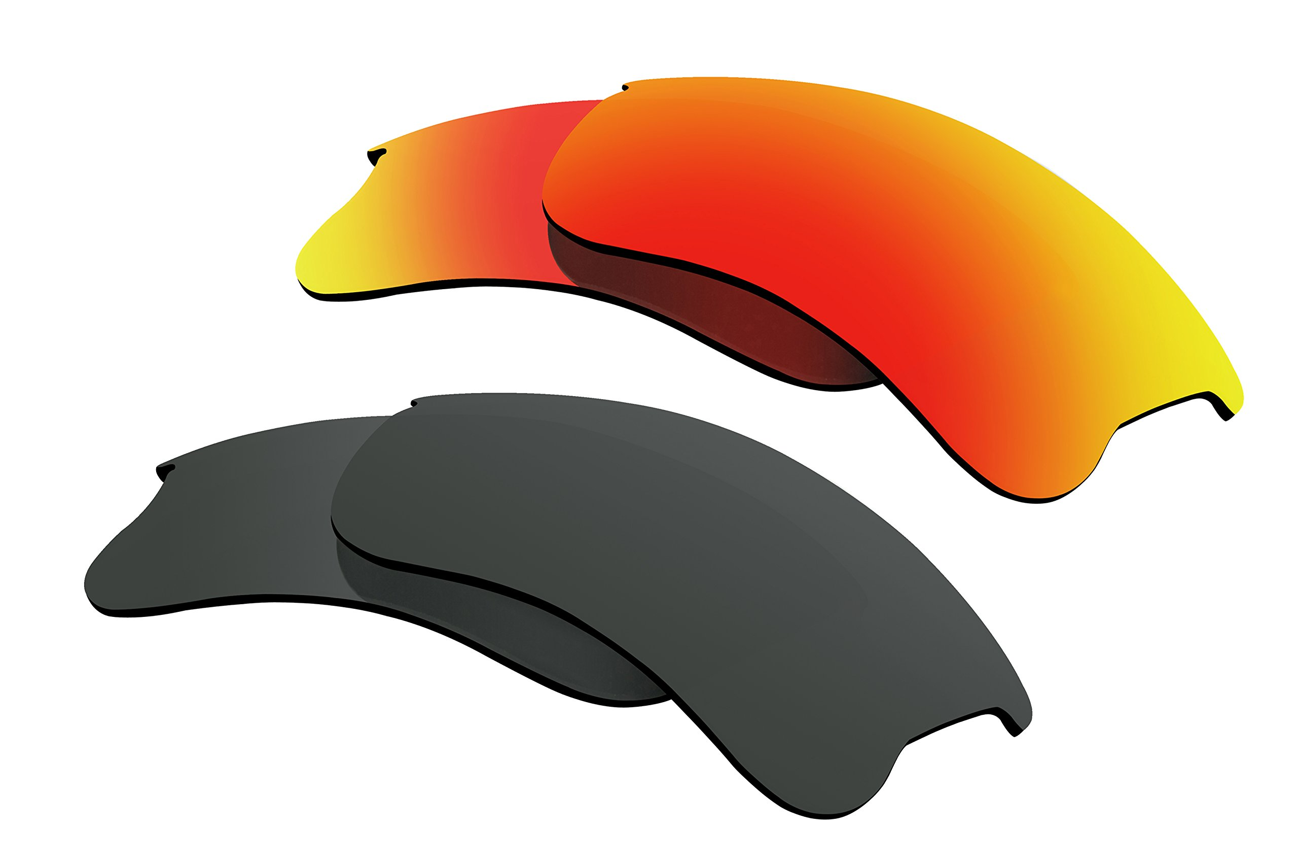 Polarized Lens Replacement for Oakley Flak Jacket XLJ Sunglass 2 Pairs Pack J2