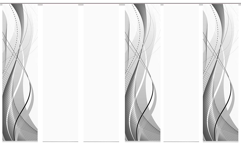 Wohnfuehlidee 6er-Set Flächenvorhang, Deko Blickdicht, WuXi, Höhe 245 cm, 3X Dessin   2X Uni Blickdicht   1x Uni transparent, Fb. grau weiß