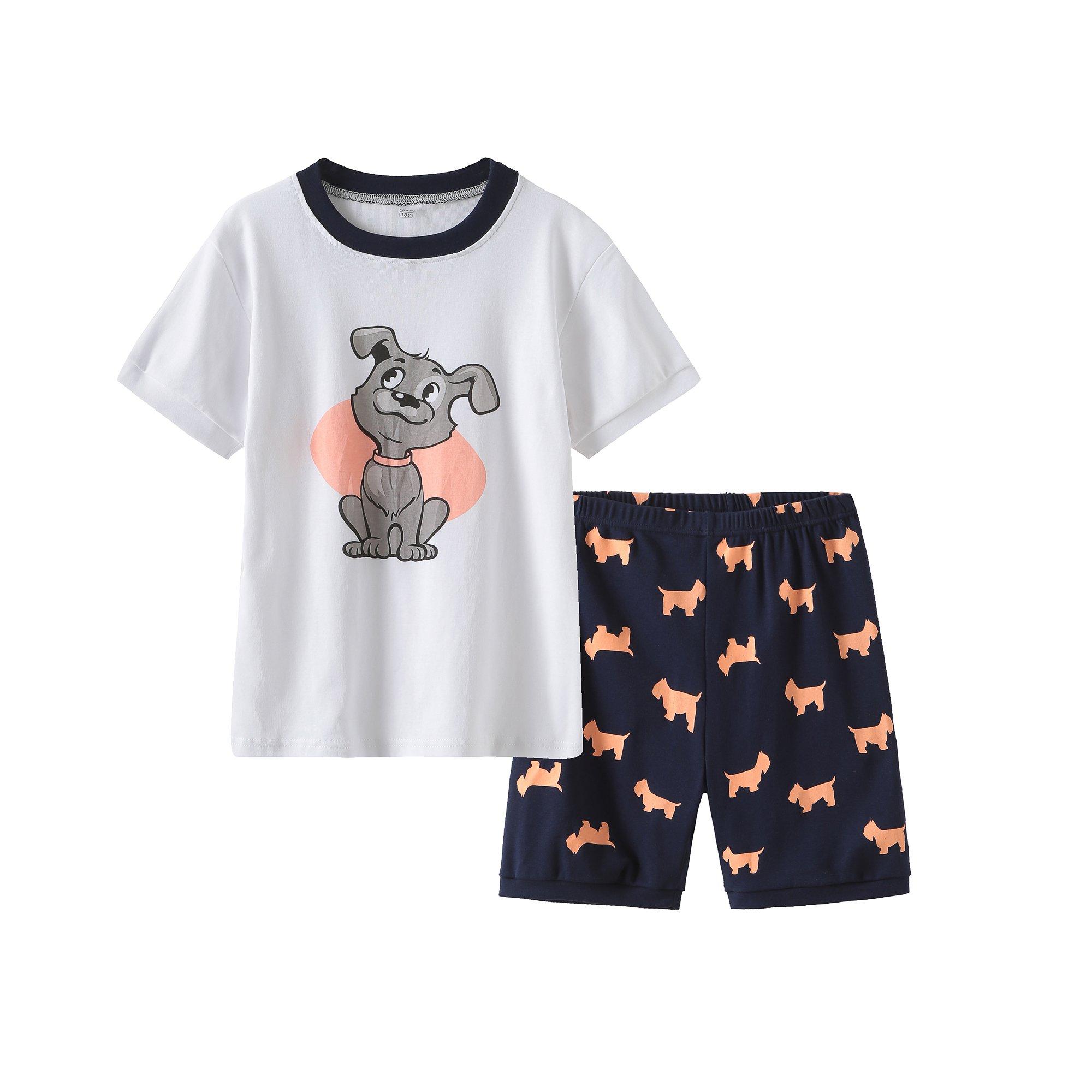 MyFav Summer Cartoon Dog Printed Pajamas Lovely Sleepwear for Big Girls Size 8-14 Years