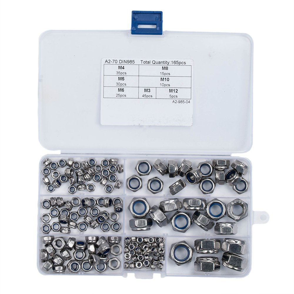 HIFROM 165pcs Nylon Lock Nut M3 M4 M5 M6 M8 M10 M12 Stainless Steel 304 Self-Locking Nut Set