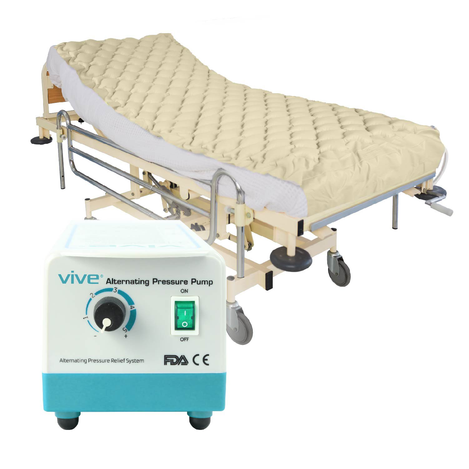 Alternating Pressure Mattress by Vive - Includes Electric Pump & Mattress Pad - Inflatable Bed Pad for Pressure Ulcer and Pressure Sore Treatment - Fits Standard Hospital Beds