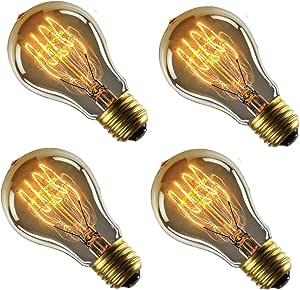 Sister-A Vintage Light Bulbs Filament Light Bulbs Edison bulbs A19 E27 40W Dimmable Squirrel Cage Filament Edison Light Bulb for Restaurant Home Office (A19 4PACK)