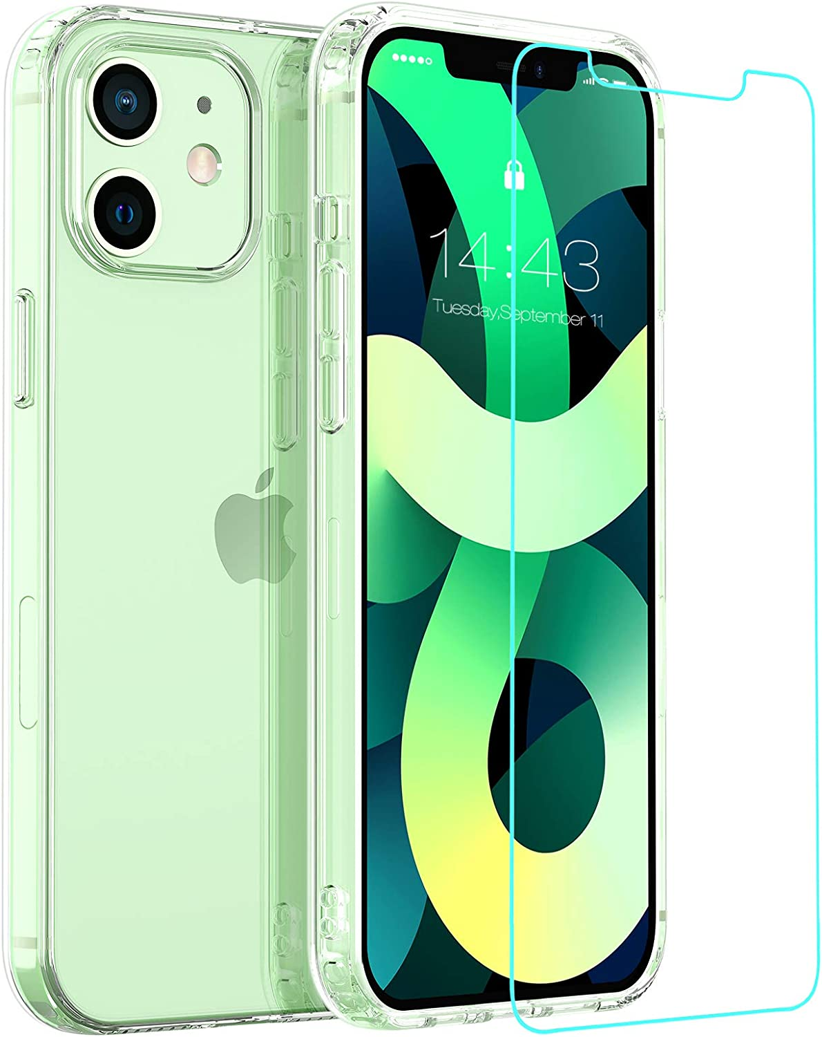 zelaxy Case Compatble with iPhone 12 Mini with Screen Protector, Anti- Yellow Hard PC Back and Shock-Absorbing Soft TPU Bumper Diamonds Clear Transparent Case for iPhone 12 Mini 5.4 inch(Clear)