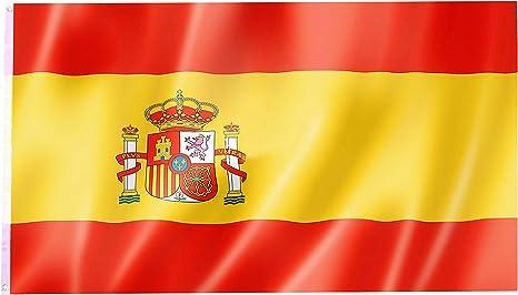 Bandera de España - 90 x 150 cm - con Anillos - Bandera Colgante ...