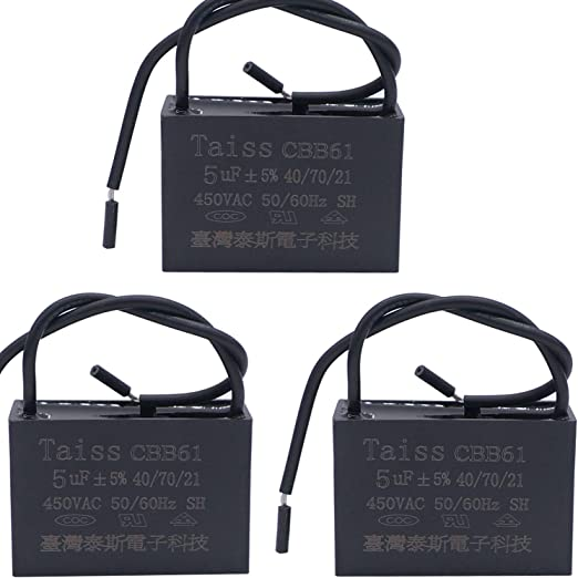 Taiss 2... New CBB61 6uf Ceiling Fan Capacitor New Tech 2 Wire 50//60Hz 450VAC