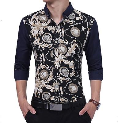 Nanquan Men Casual Long Sleeve Business Slim Fit Floral Print Shirt
