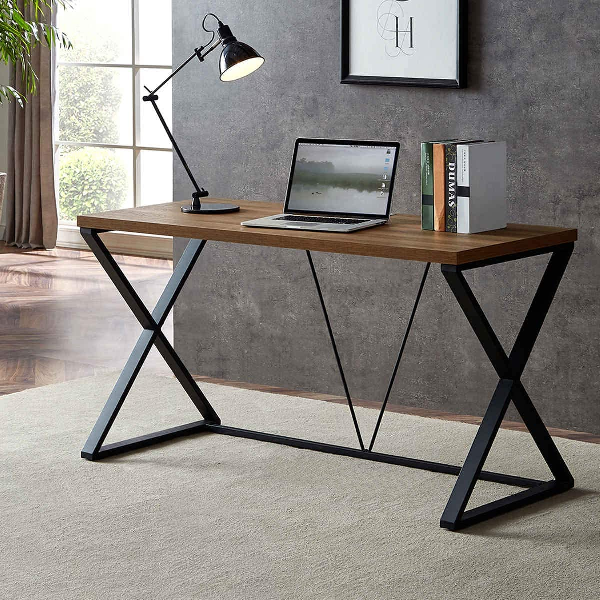 DYH Computer Desk, Industrial Wood and Metal X Writing Desk, Wood Table for Home Office, 55 inch