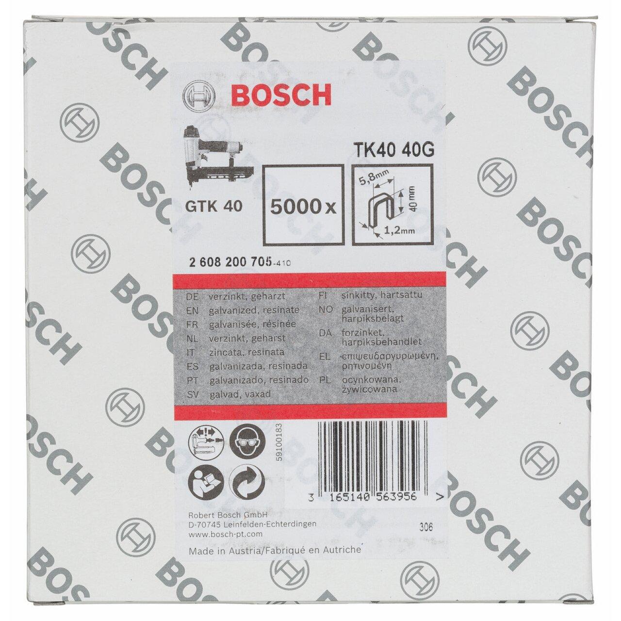 2608200705 BOSCH 40G 1.2 TK40 1.2/18G NARROW CROWN STAPLE by Bosch