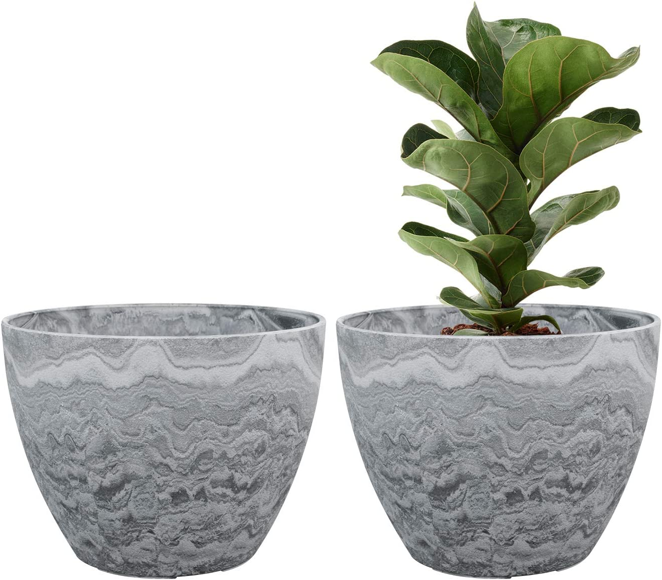 Flower Pot Large Garden Planters 11.3 Inches Pack 2 Outdoor Indoor, Resin Plant Containers with Drain Hole (Marble)