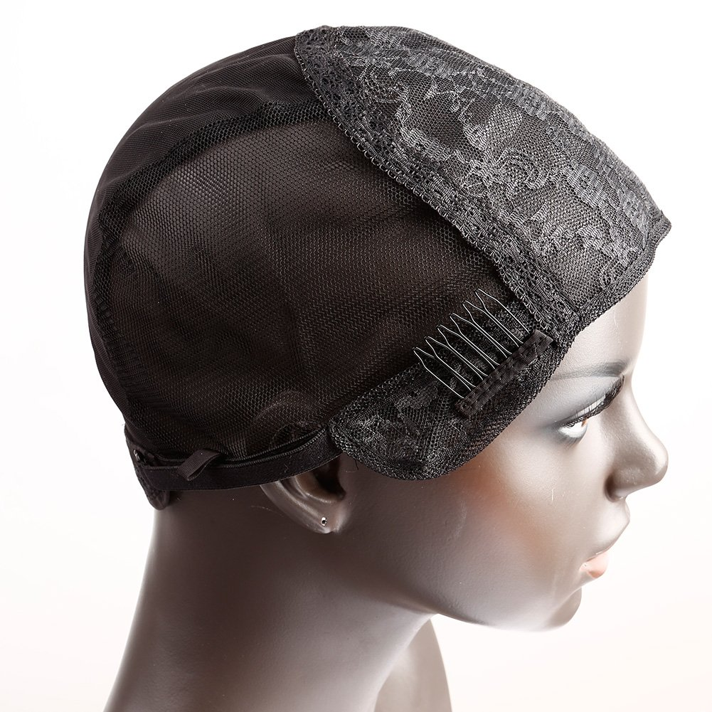 Bella Hair Glueless Wig Caps for Making Wig with Combs and Adjustable Straps Swiss Lace Black Large Size