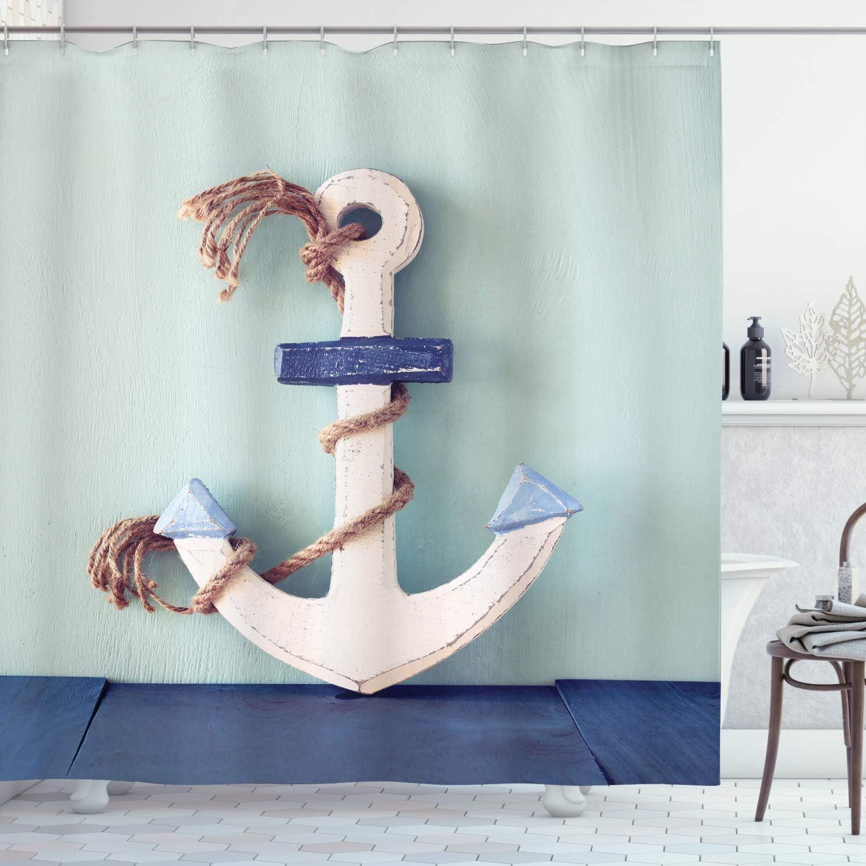175 x 180 cm ABAKUHAUS Ancora Tenda da Doccia Anchor Skull Rope Mare Beige Blu Navy Tessuto Set di Decorazioni per Il Bagno con Ganci