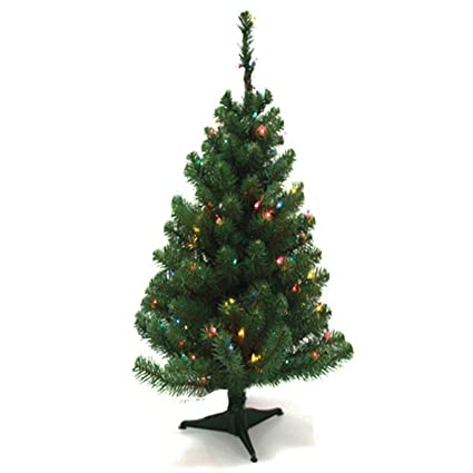 Tabletop Christmas Tree.2 Ft Artificial Mini Tabletop Christmas Tree Green With Multi Color Led Light