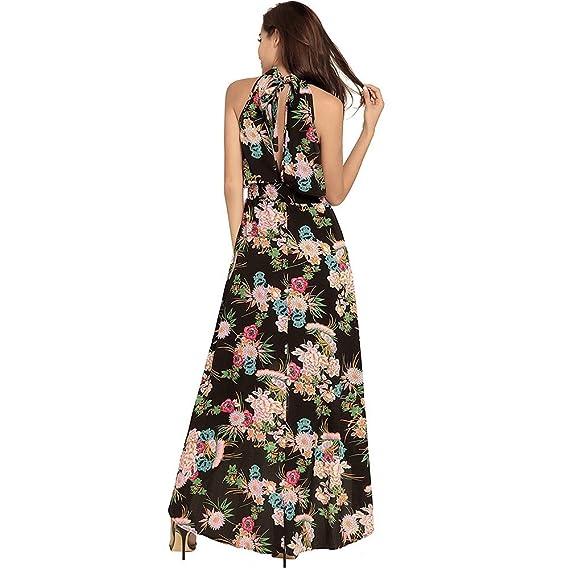 SEESUNGM Vestidos Vestidos De Las Mujeres De Las Faldas De Los Modelos De Ocio  Flojo Largas Fugas Vestido Vbohemia Vuelta De Profundidad con Una Falda ... ac03b1822c7a