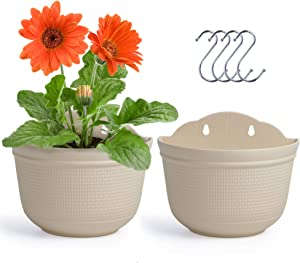 Amazing Creation Wall Planter Pots with Hanging Hooks, Set of 2, Indoor and Outdoor Vertical Planting for Fence, Balcony or Railing Use, Display Herb Gardens, Flowers or Plants