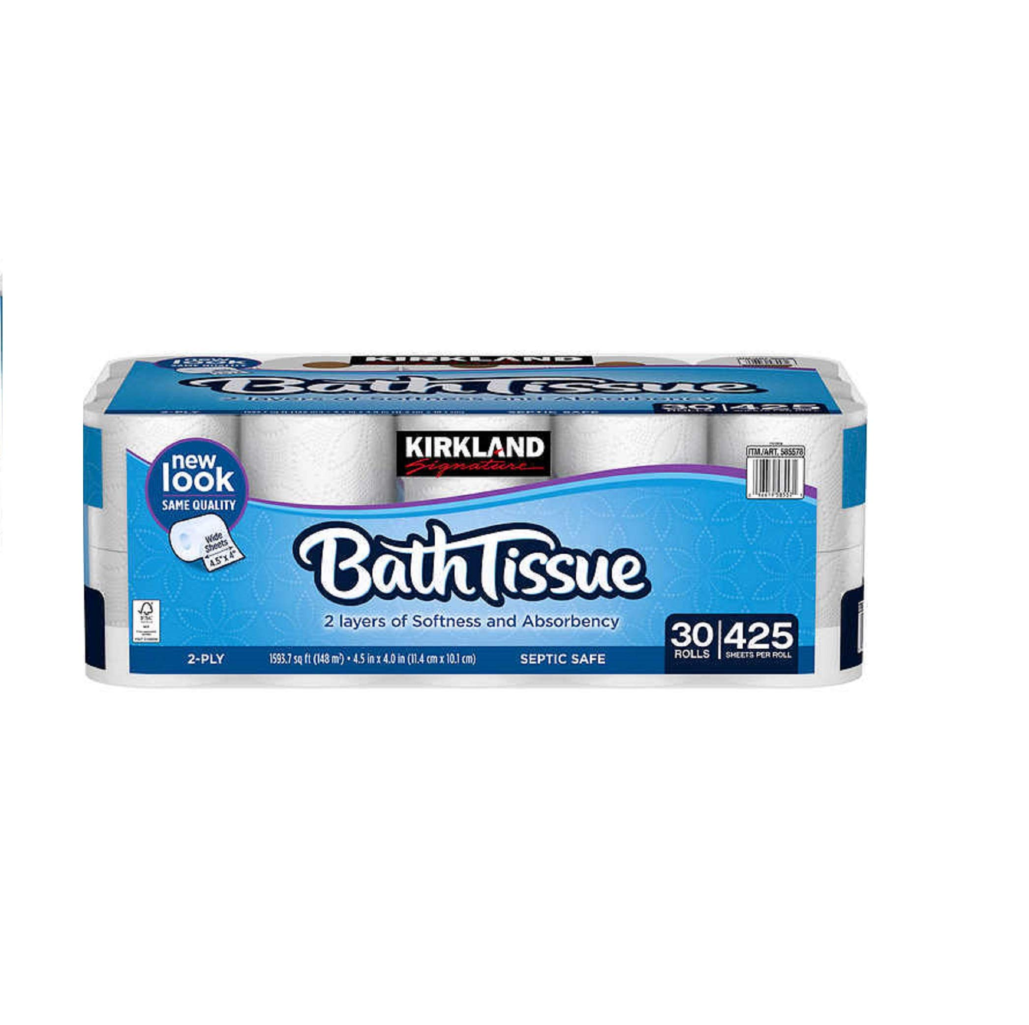 Kirkland Signature Bath Tissue, 2-Ply, 425, 2 Pack (30 count)