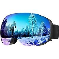 ENKEEO Occhiali da Sci Lente Magnetica Staccabile Doppio Strato Anti-Nebbia Anti-Vento 100% Protezione UV400, Telaio Curvabile, Schiuma 2 Strati