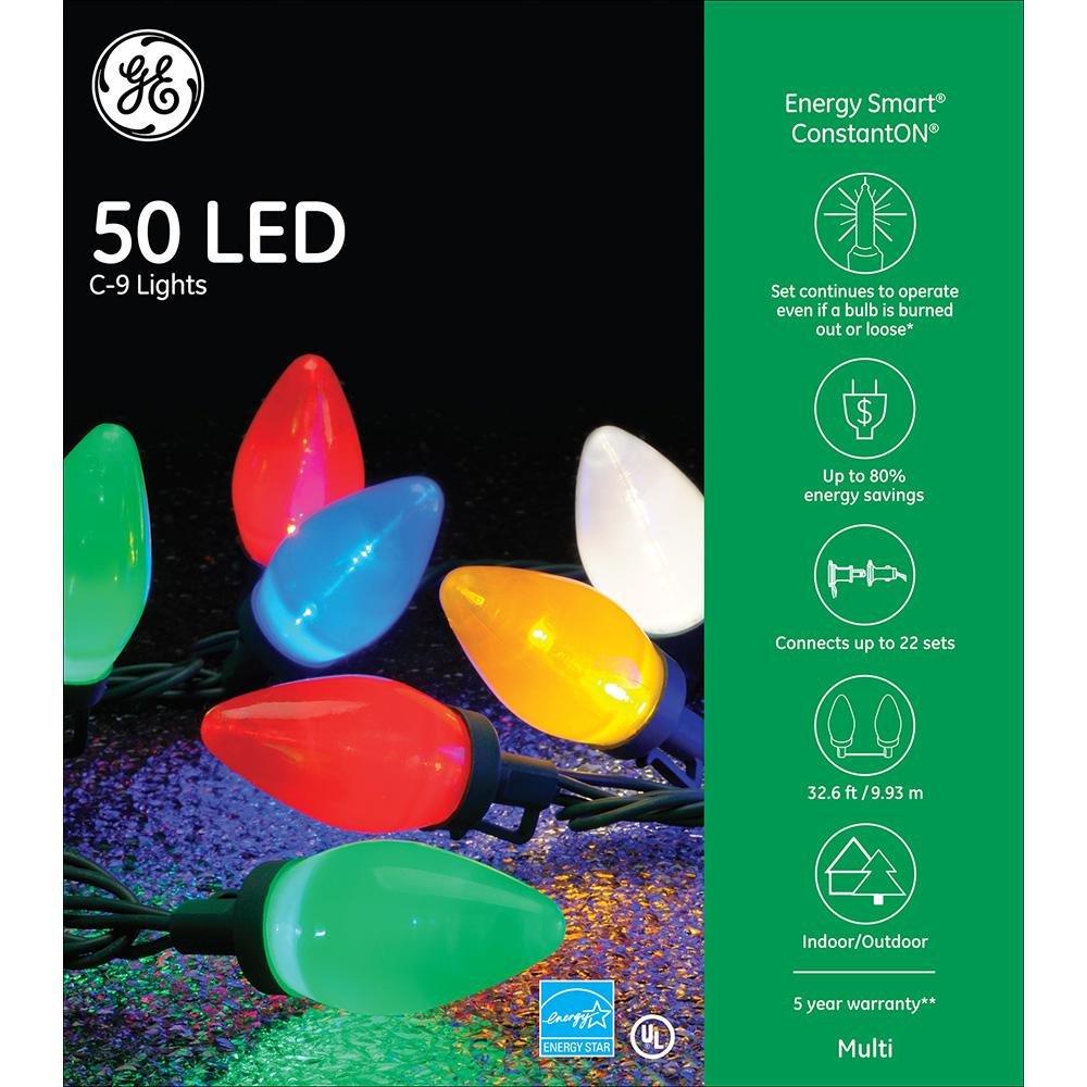 ge energy smart colorite led 50 light c9 traditional light set multi by nicholas holiday inc amazoncom - Ge C9 Christmas Lights