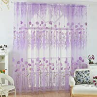 POPVCLY Floral Sheer Voile Tulle Curtain Panel Drapes for Bed Living Room