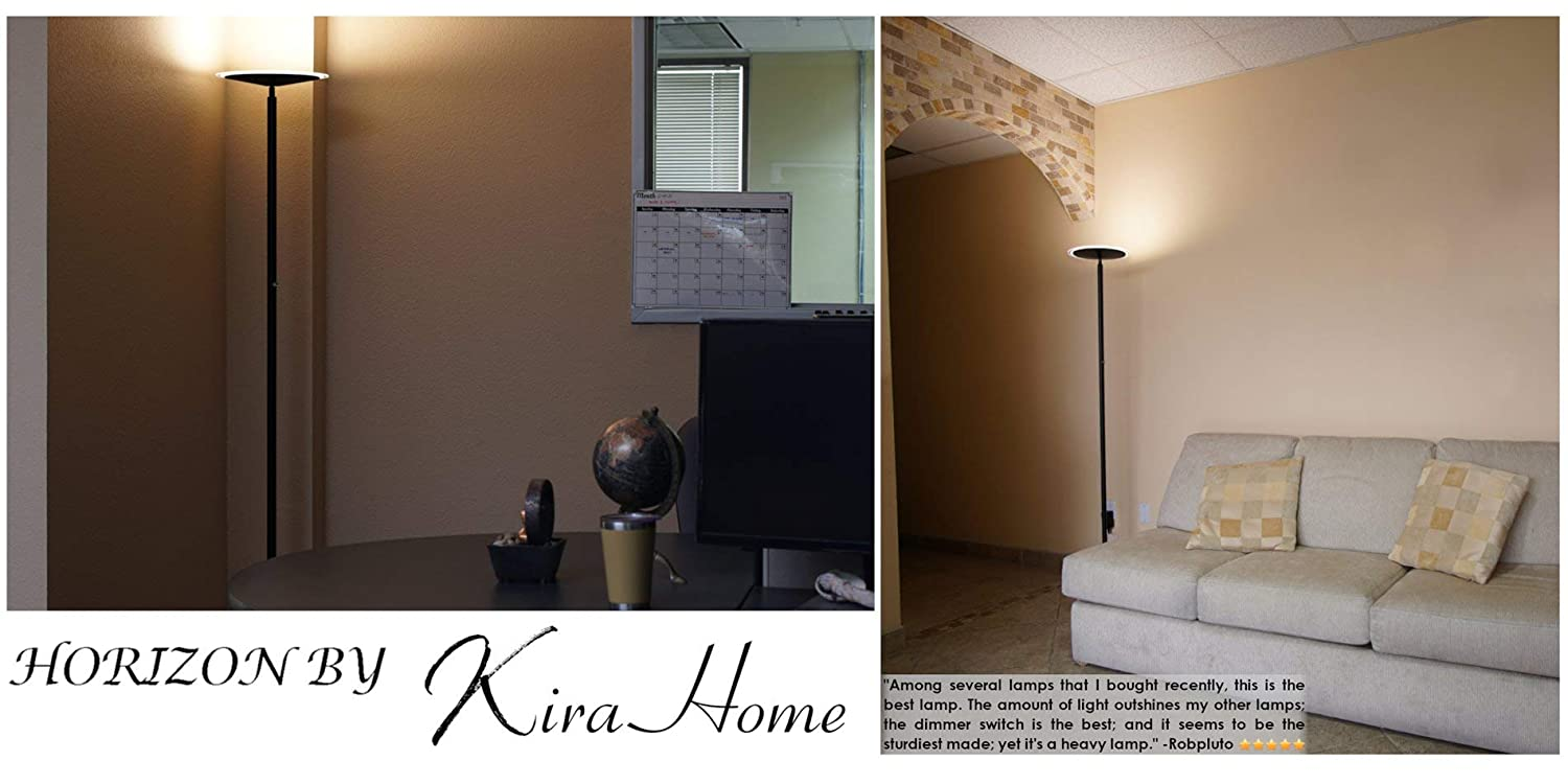 Timer and Wall Switch Compatible Kira Home Horizon 70 Modern LED Torchiere Floor Lamp Brushed Nickel Finish RV-F216-6217-BN Adjustable Head Dimmable 3000k Warm White Light 36W, 300W eq. Glass Diffuser