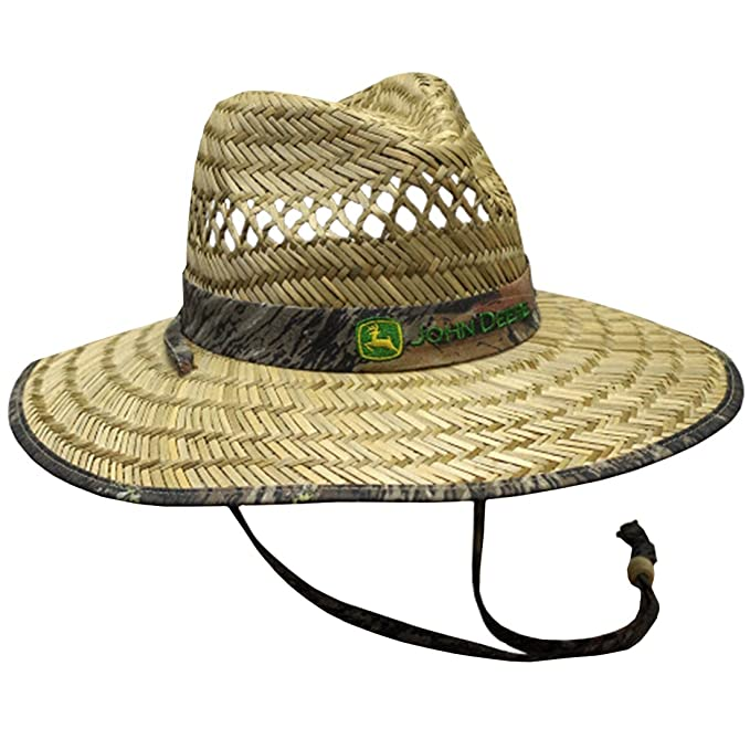 Amazon.com  John Deere Brand Camo Straw Hat With Neck Strap  Clothing e8ba88f9dd03
