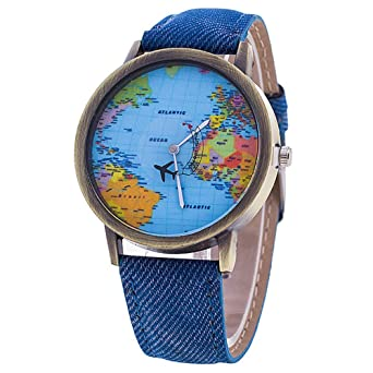 Sanwood womens world map dial denim fabric strap wrist watch blue sanwood womens world map dial denim fabric strap wrist watch blue gumiabroncs Images