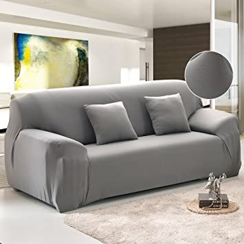 FP Sofa Covers For 3 Cushion Couch Grey Polyester Spandex Stretch Arm  Elastic Sofa Slipcover Furniture