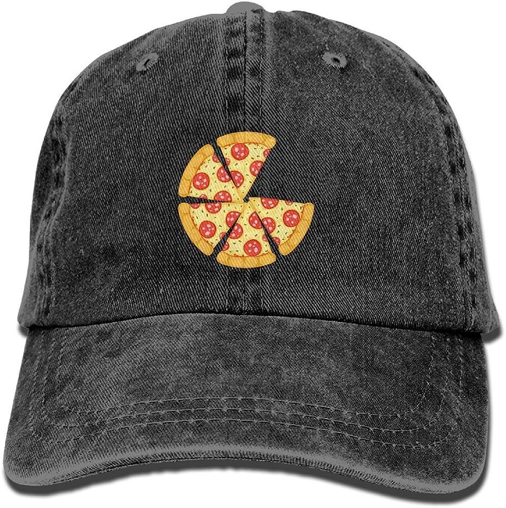 Men Women Novelty Denim Adjustable Dad Hat Pizza Slice Low Profile Baseball Cap Navy