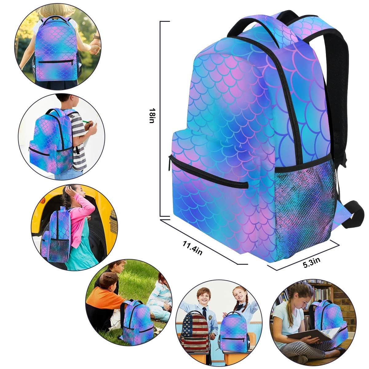 Funnycokid Mermaid Backpack Girls Fish Scale Daypack Rucksack for Sports and Traveling,Teenagers Canvas School Book Bag with Bottle Side Pockets