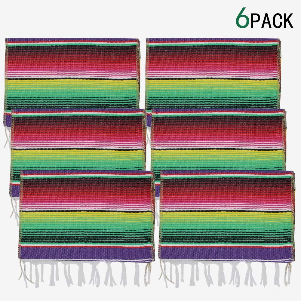 yofit Mexican Serape Table Runner, Mexican Party Blanket, Serape Wedding Decorations,6pack (Violet, 14x84 inch 6pack) by YOFIT