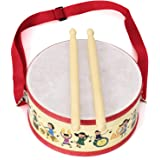 FREAHAP R Kids Drum Wood Toy Drum Set with Carry Strap Stick for Kids Toddlers Gift Red 8x4in
